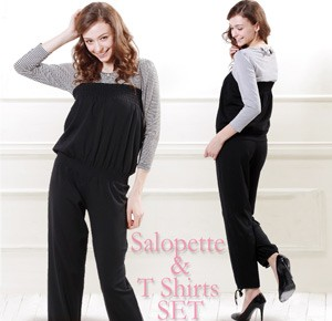 ベアトップサロペット&授乳機能付きTシャツ(2点セット) 授乳服 雑誌掲載商品