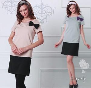 チュールリボン付き配色授乳ワンピース 授乳服 雑誌掲載