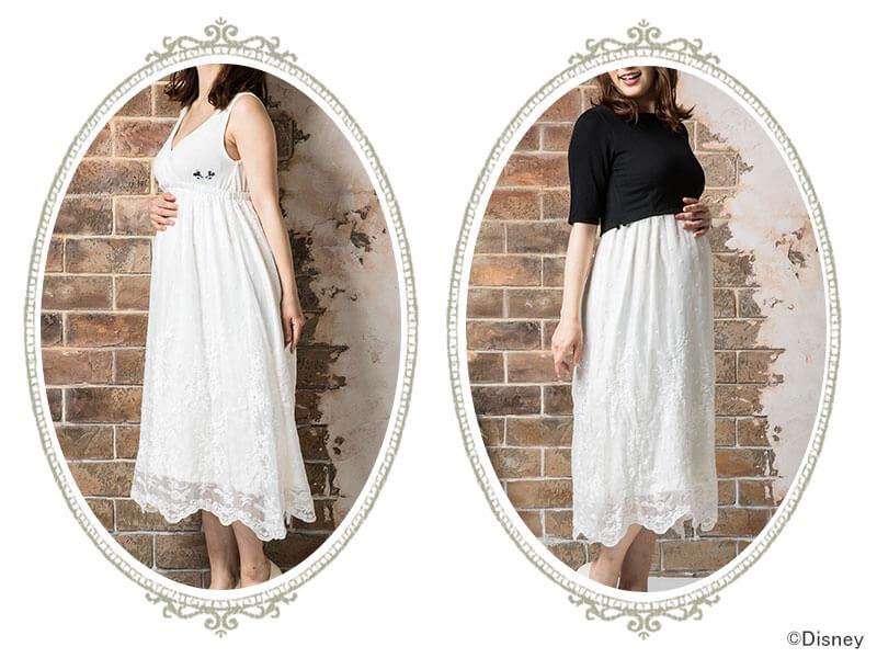 ロマンティックな授乳服ワンピース