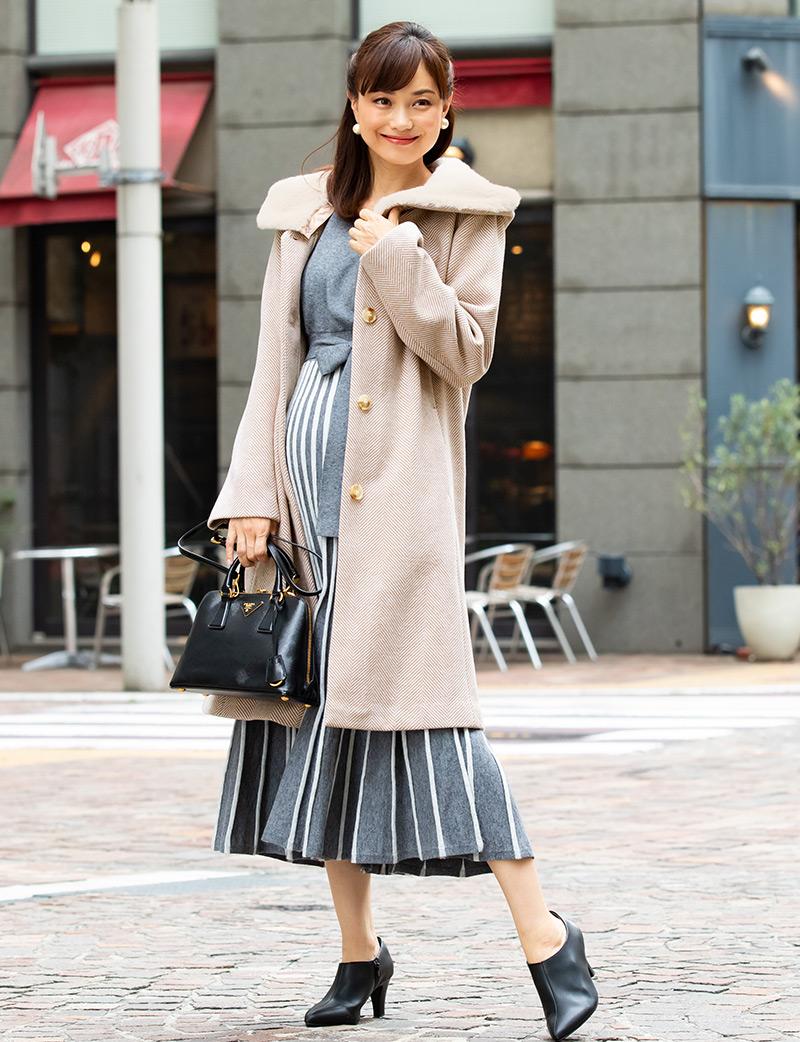 産前産後、長く着られて襟アレンジ自在のママコート