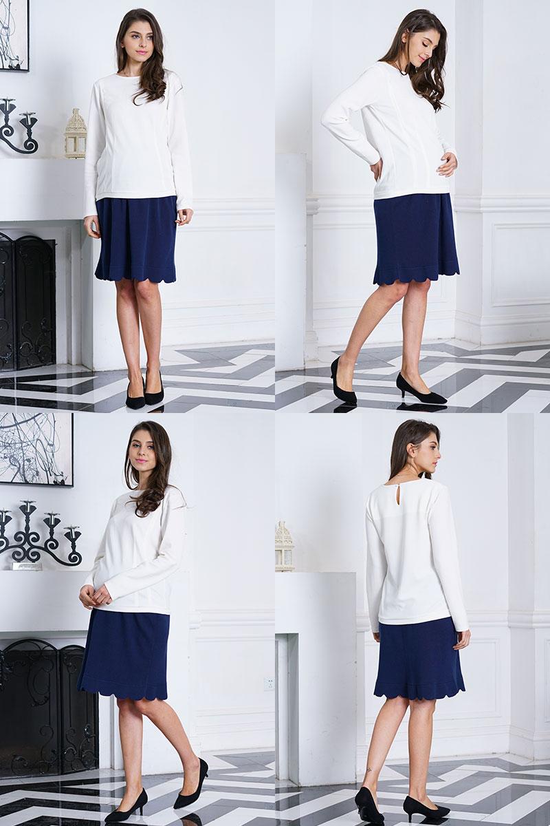 オーガニックコットン100%の優しいニットスカート モデル着用イメージ