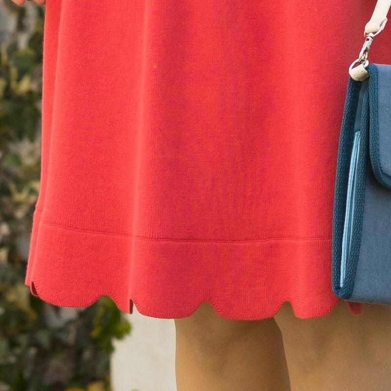 ハイゲージニットスカート 裾のスカラップ拡大