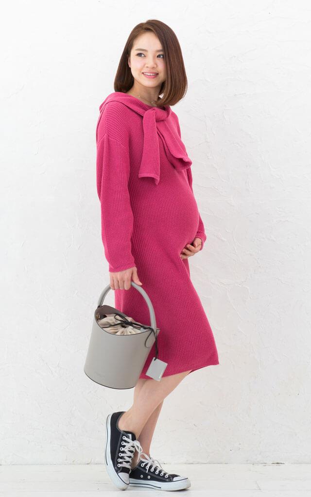 妊娠中から産後までおすすめのニット授乳服ワンピ