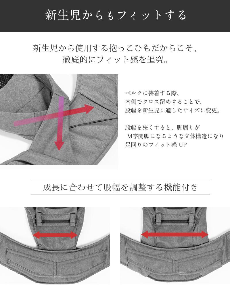赤ちゃんの股の幅調節機能で M字開脚 抱っこ紐