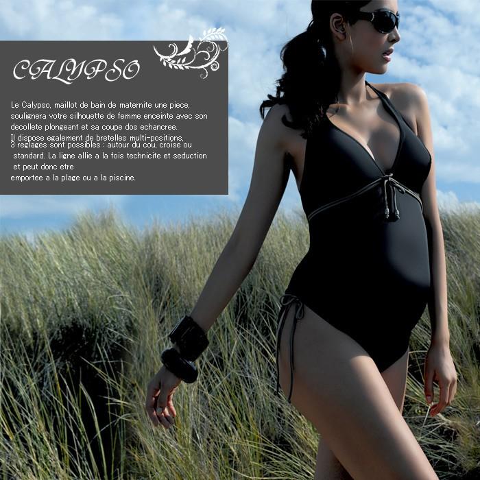 CALYPSO 3WAYバックデザインフロントリボンスイムウェア ブラック マタニティ/水着/スイムスーツ/マタニティ水着/出産準備