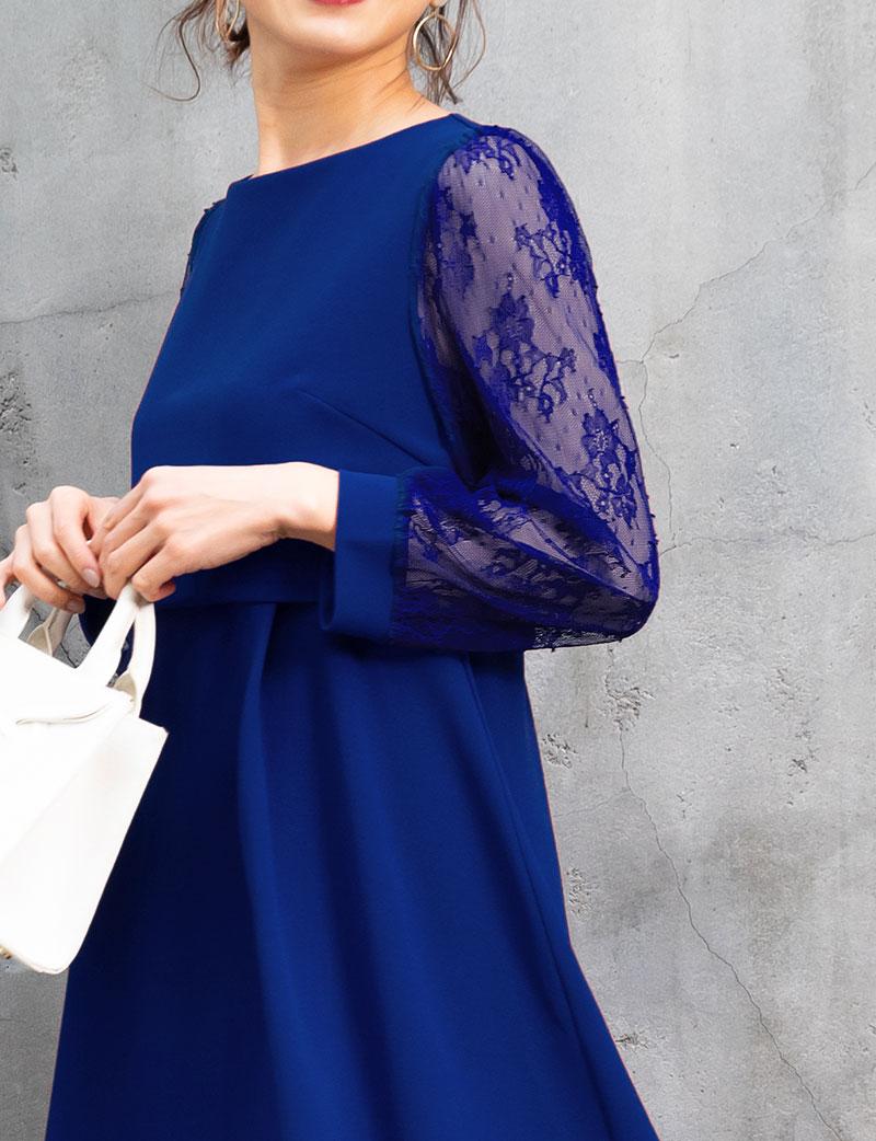 お袖の透け感が美しいマタニティフォーマルドレス