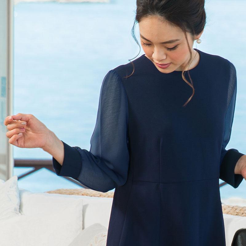 裾の透け感がキレイな授乳服フォーマル
