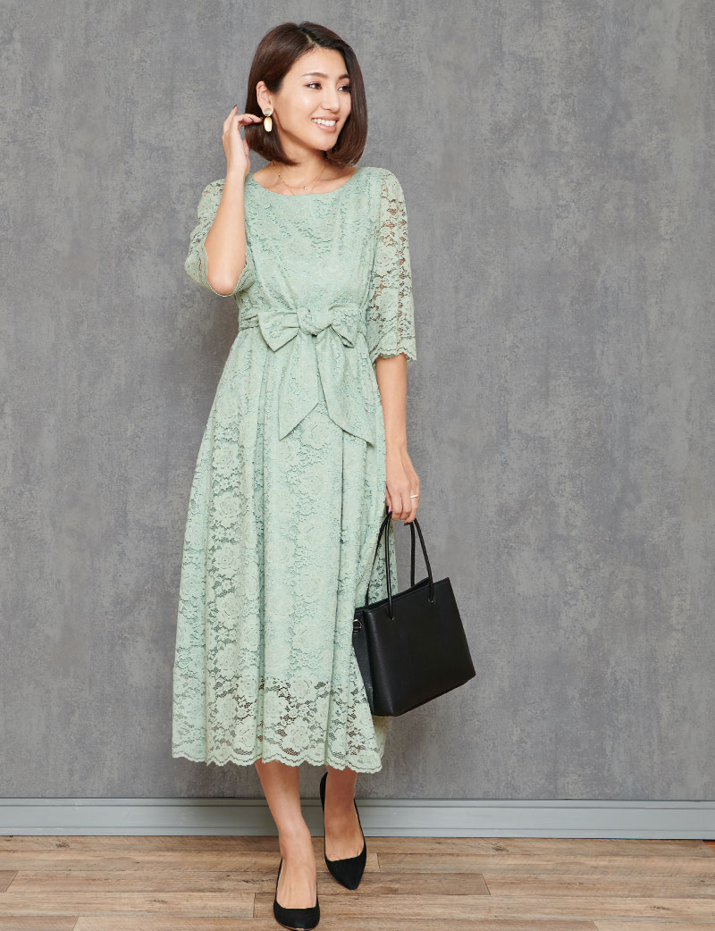心くすぐる華麗でリッチなミントカラーの総レース授乳ロングドレス