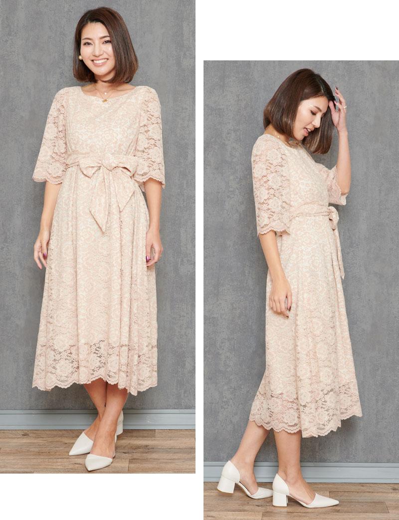 ピンクベージュの甘いロングドレス モデルイメージ