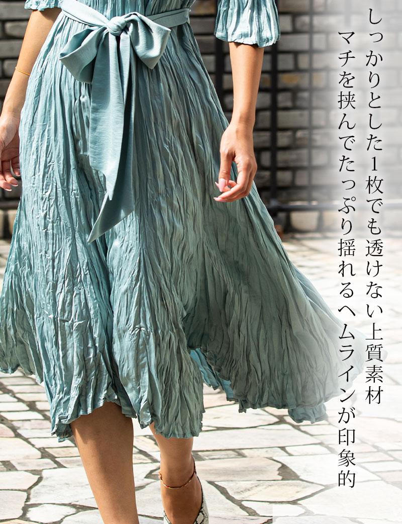 しっかりとした1枚でも透けない上質なプリーツスカート