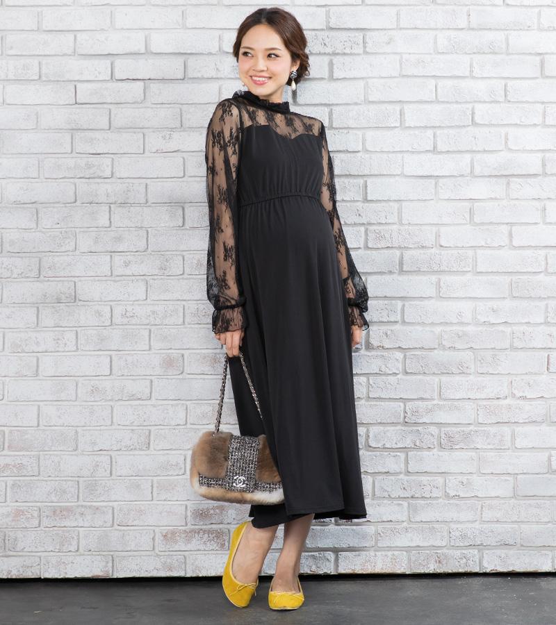 女性らしい落ち着いた雰囲気の授乳服ドレス