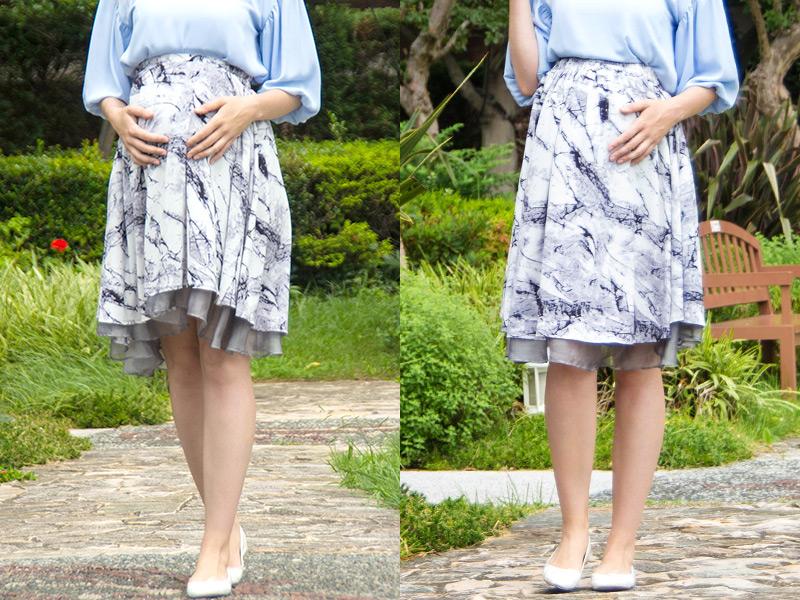 妊娠中はくるっと逆にして普通のスカートのようにはいてもおしゃれ!