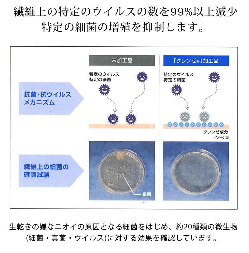 ハリのあるコットン100%素材に抗菌抗ウイルス加工