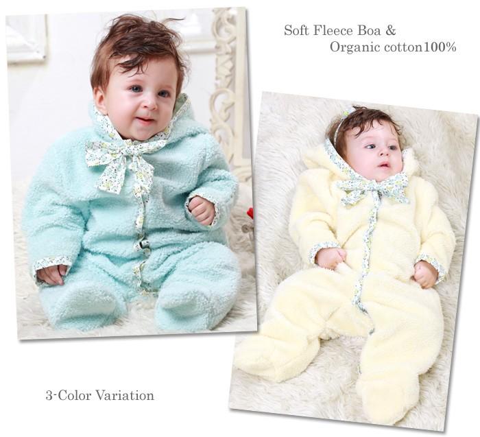 【デザイナーズ ギルド】 マシュマロボアジャンプスーツ 小花柄リボン付き 赤ちゃん/ベビー/カバーオール/防寒着