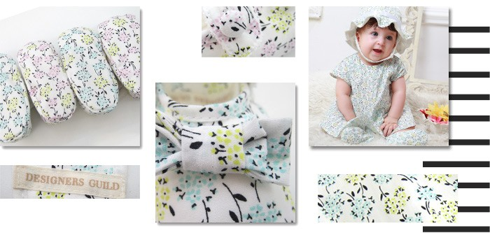 【デザイナーズ ギルド】 小花プリント ベビーファーストシューズ 赤ちゃん/ベビーウェア/靴
