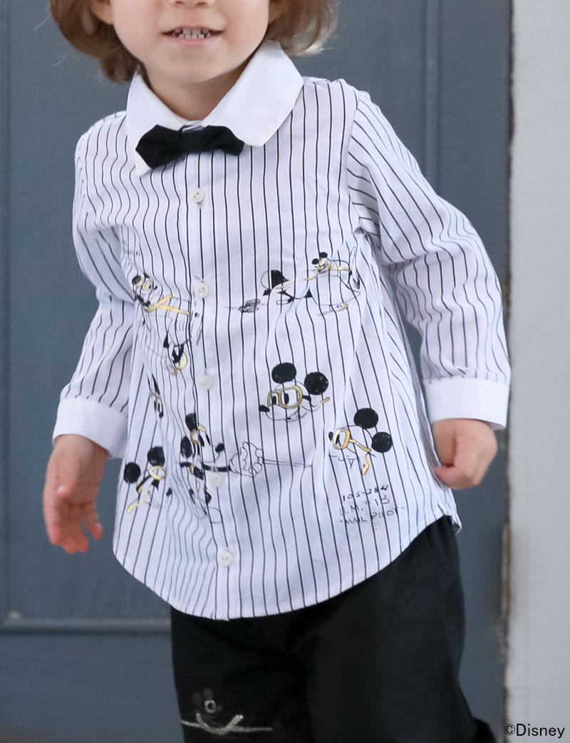 ミッキープリント 男の子 ストライプシャツ 男の子のフォーマルウェア