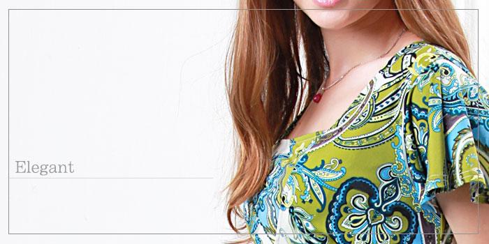 ウエストマーク インポートプリント授乳ワンピース 授乳服/マタニティ/半袖/マタニティウェア