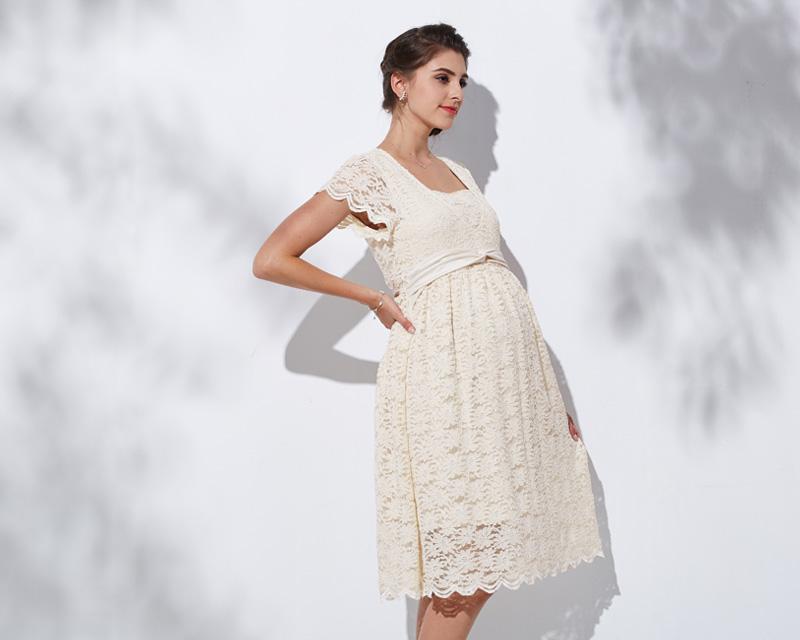 ウエストリボンですっきりスタイルよくみえる授乳服ドレス