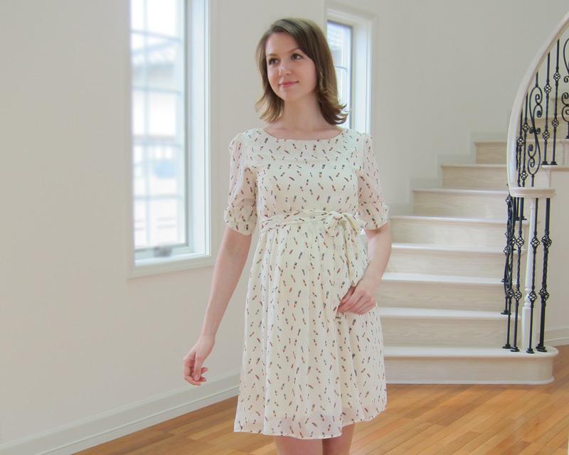 女性らしい普段使い授乳服ワンピース