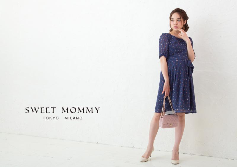 授乳服とマタニティウェアのスウィートマミーがおすすめするシフォン素材ルージュ柄授乳服ワンピース