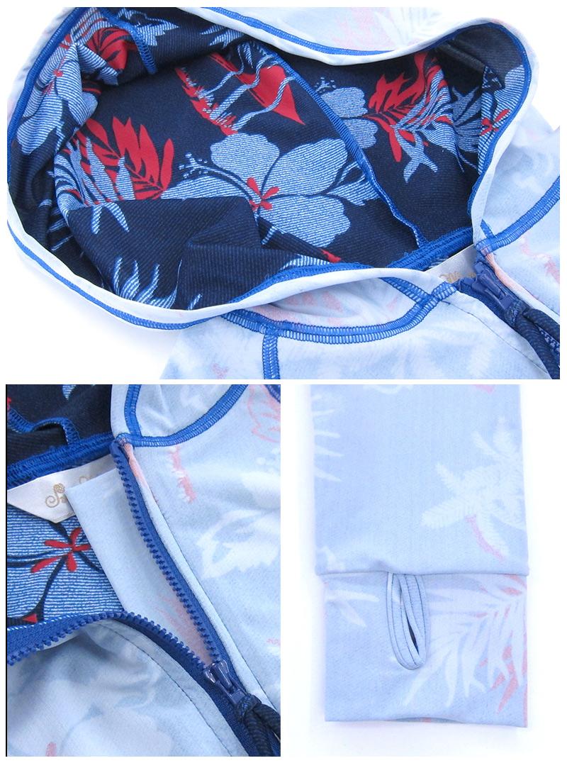 マタニティスイミングの冷え防止や、プール&ビーチの日焼け防止に!裏仕立ての花柄がおしゃれな長袖ラッシュガード kp4031 マタニティ/水着/スイムスーツ/産前産後兼用