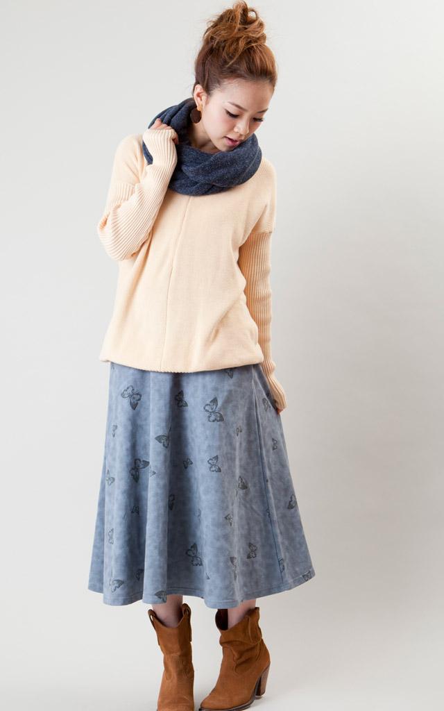バタフライプリントが可愛いマタニティウェアスカート
