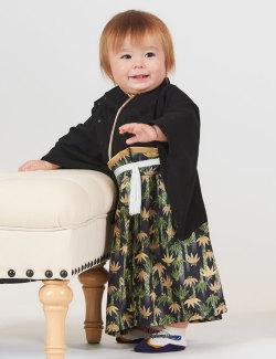 家紋刺繍付き 袴風カバーオール