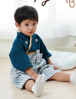 日本製和柄ちりめん袴ロンパース