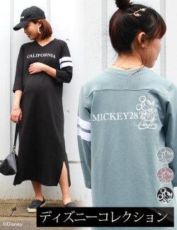 ミッキープリントTシャツワンピ