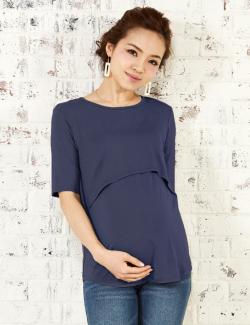 竹繊維レイヤード授乳Tシャツ