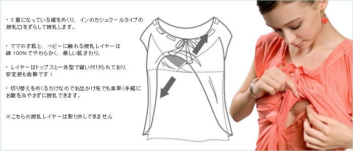 ギャザーリボントップス【アリス】 授乳機能付