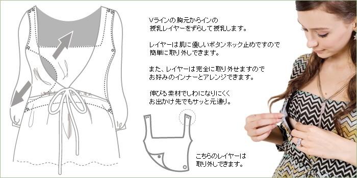 グラデーションボーダー授乳ワンピース【マリベル】 授乳機能付