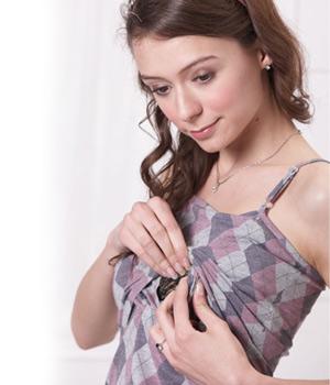 アーガイル柄パッド付き授乳キャミソール 授乳口タイプ
