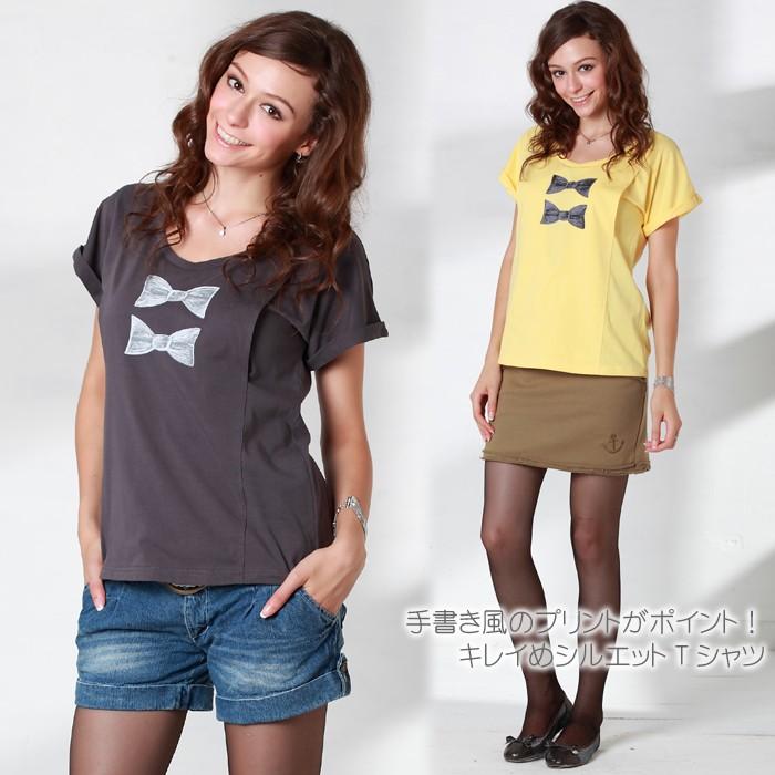 リボンプリント AラインTシャツ
