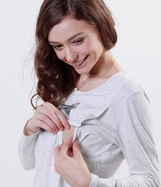 ダブルリボンプリントTシャツ(長袖)授乳機能付き 授乳服&マタニティウェア[mt0067]