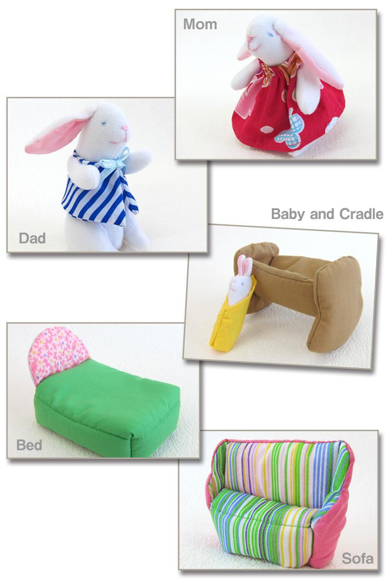 うさぎのパパ、ママ、赤ちゃん、家具がセットに