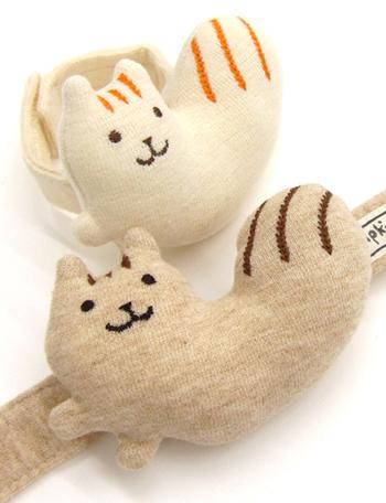 日本製 オーガニックコットン リストガラガラ りす POMPKINS ポプキンズ 出産祝い