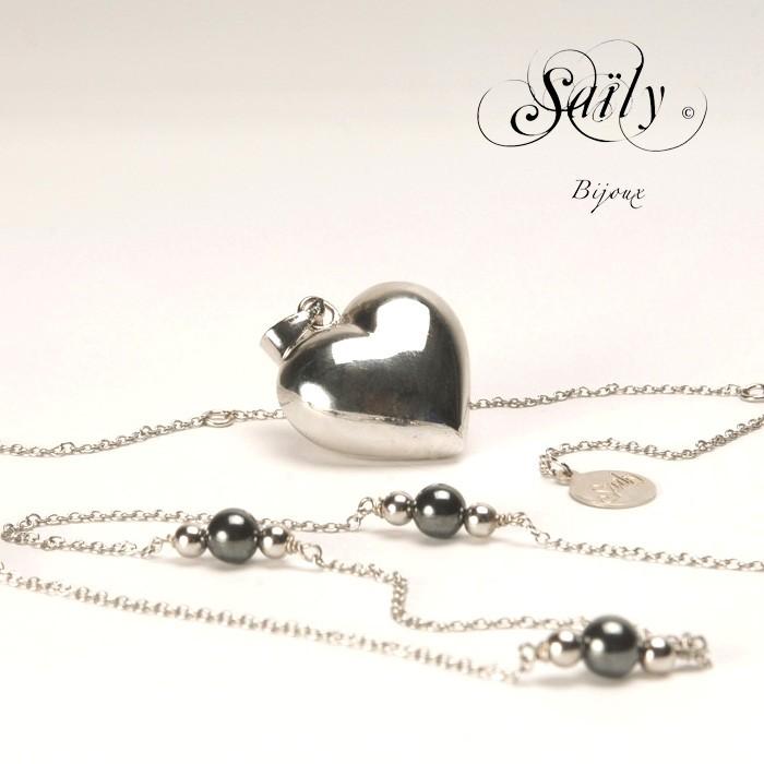 Saily ボラスメロディボールネックレス ハートコレクション シルバー