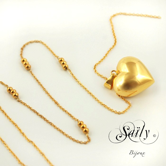 Saily ボラスメロディボールネックレス ハートコレクション ゴールド