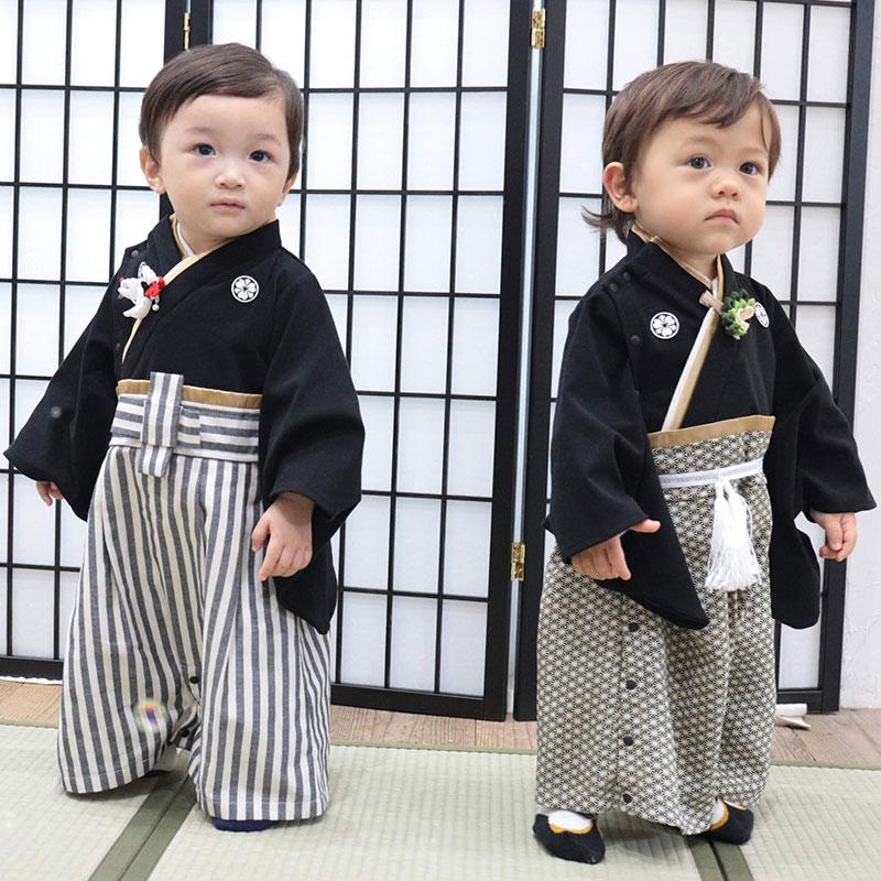 家紋付きベビー袴、ブラック