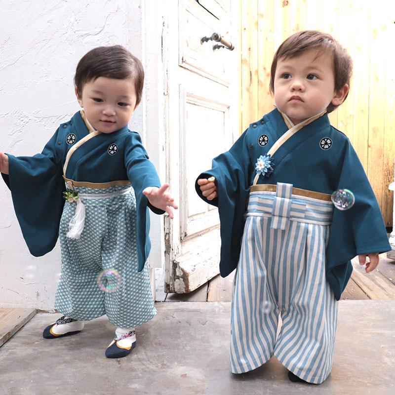 家紋付きベビー袴、ブルー