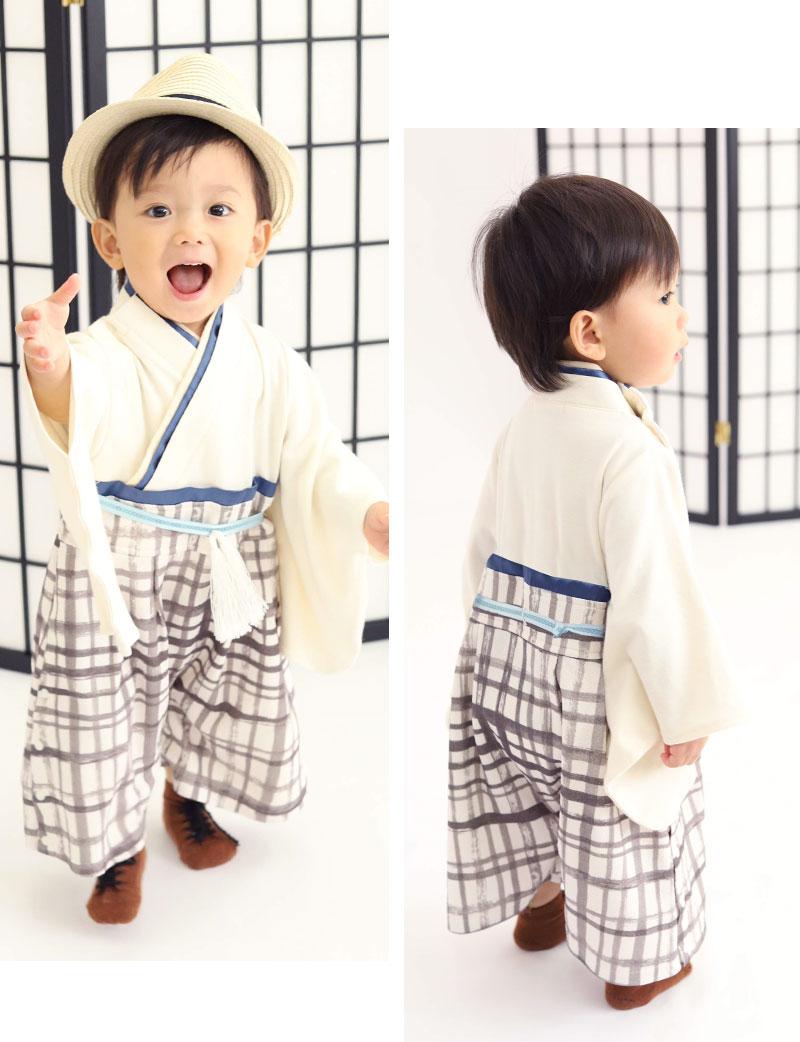 本格的 袴ロンパース ホワイトチェック着用 男の子イメージ