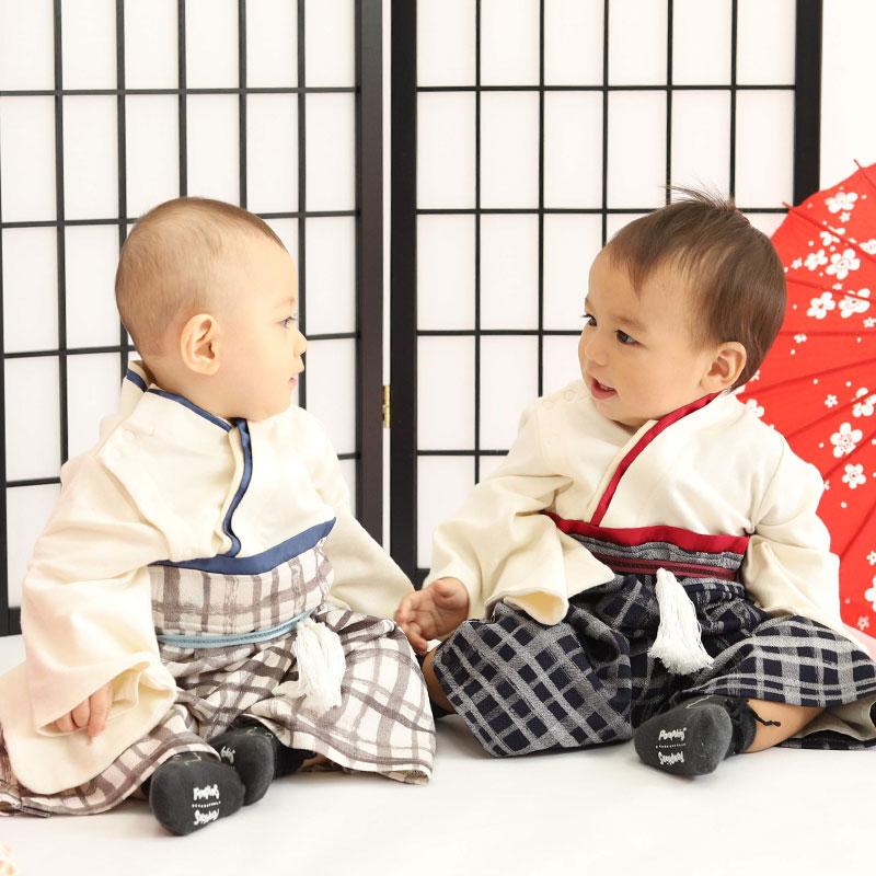 3歳男の子着用イメージ 前、後ろ