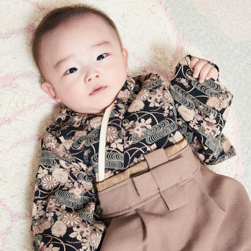 新生児から着られるベビー袴 ブラックねんねのイメージ