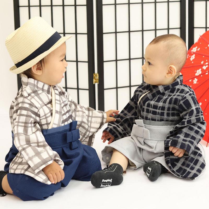 可愛い本格的なベビー袴 チェック柄ベビー 双子コーデ