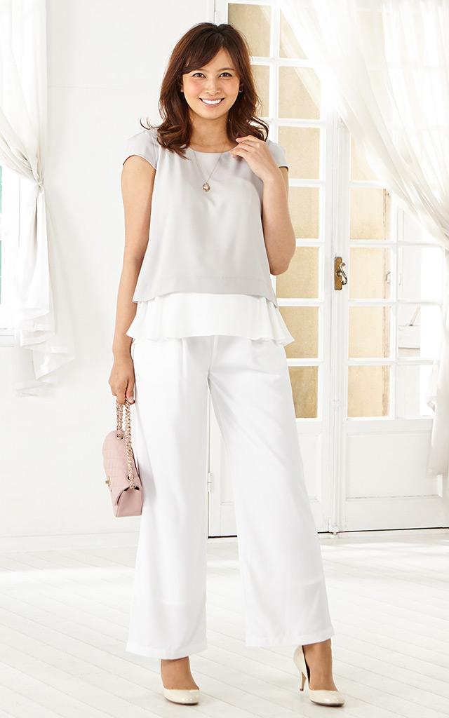 夏にぴったりのさわやかな色合いの授乳服マタニティボトムセット