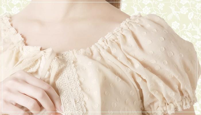 オーガニックコットン水玉ローンブラウス&授乳キャミのセット
