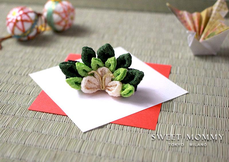 縁起物松の気品ある伝統工芸【日本製】つまみ細工