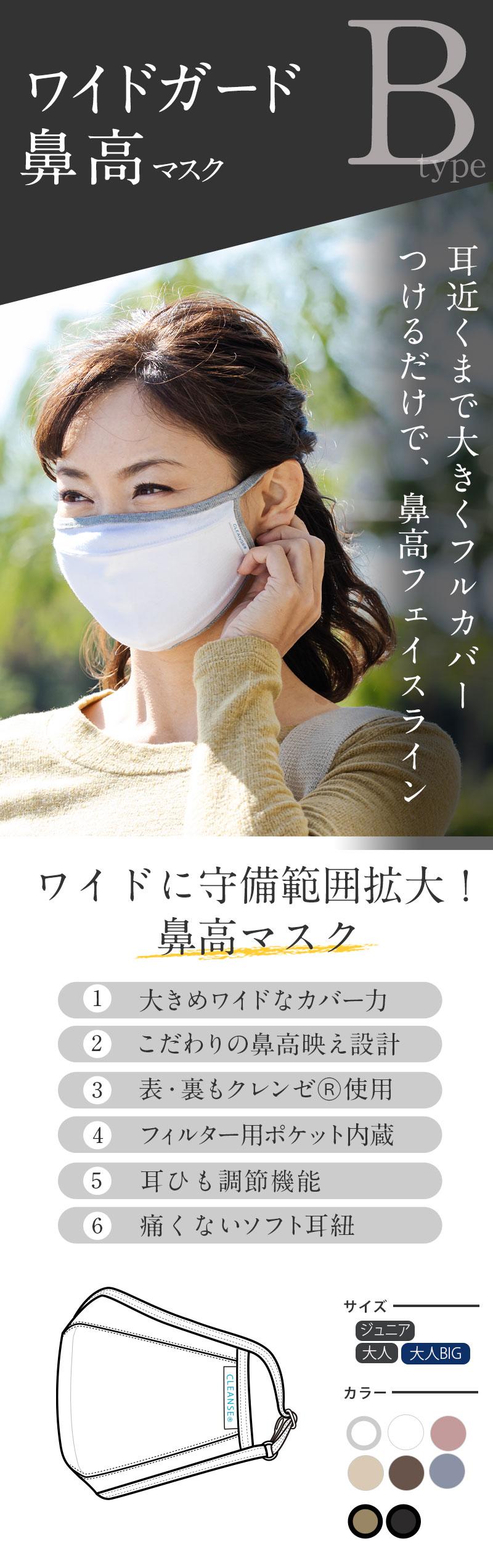 抗菌 抗ウイルス ワイドガード 鼻高マスク