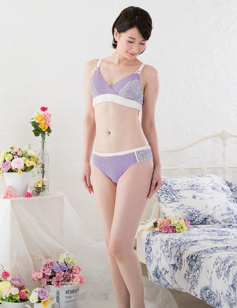 オーガニックコットン100%授乳ブラ モデル全身イメージ